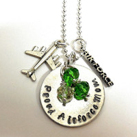 Proud Air Force Mom Birthstone Necklace / Army, Air Force , Navy , Marines Hand Stamped Necklace /