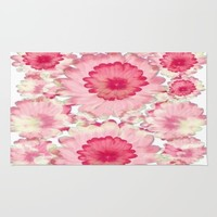 Flowery Pink and White Rug by Jennifer Warmuth Art And Design