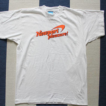 Vintage Deadstock Newport Pleasure Tobacco Advertising T-shirt Size Large 1990