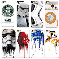 TPU CASES FOR APPLE IPHONE 4 4S 5 5S SE 6 6S 7 7 Plus CASES MOBILE PHONE BACK COVER CASE R2D2 STAR WARS COFFEE STORMTROOPER THIN