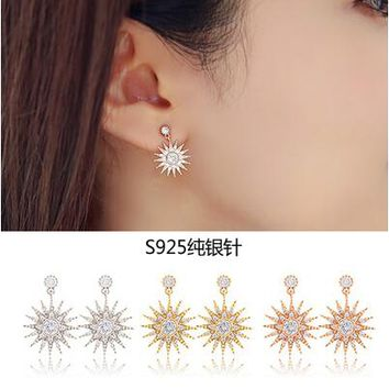 2017 new arrival high quality fashin sunflower design 925 sterling silver ladies`stud earrings jewelry promotion