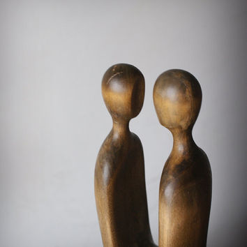 Lovers - modern wood sculpture, unique hand carved wood statue