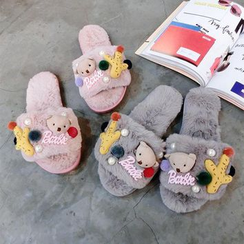 Cartoon Cute Bear Keep Warm Plush Home Slippers Women Lazy Flats Shoes