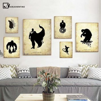 Batman Dark Knight gift Christmas Batman Superman Hulk Superheroes Vintage Poster Minimalist Art Canvas Painting Wall Picture Print Home Room Decoration 390 AT_71_6