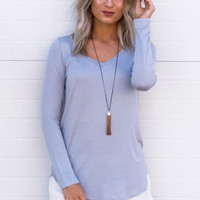 Basic Long Sleeve V-neck Top - Baby Blue