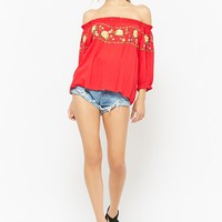Floral-Embroidered Gauze Off-the-Shoulder Peasant Top