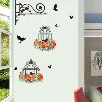 Flower Birdcage / Flying Birds Wall Sticker Decals Living Room Wallpaper