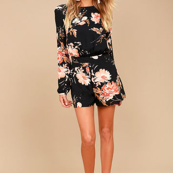 Flower Power Black Floral Print Backless Romper