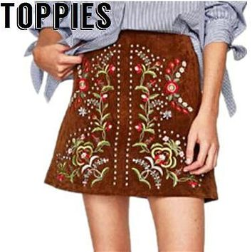 2017 Women Autumn New Suede Leather A-Line Skirt Boho Floral Embroidery Rivet Skirts High Waisted Female Ethnic Skirt