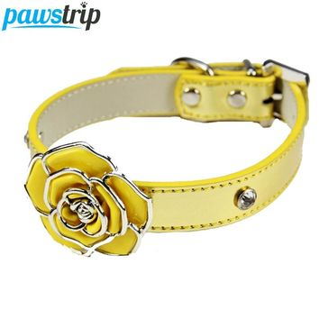 Luxury Diamante Flower Bling Dog Collar Lead Soft Leather Adjustable Puppy Cat Collar Harness