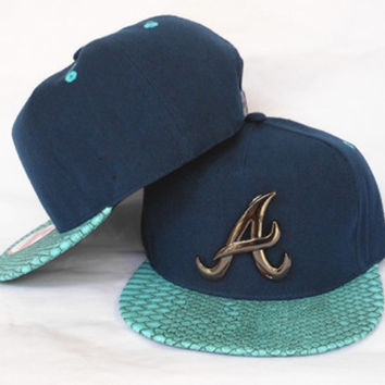 Atlanta Braves Gator Skin and Gold Pendant Snapback