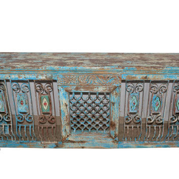Antique Vintage Distressed Console Jali Table Hand Carved Bench with original tiles Indian Furniture Moroccan Tuscan interiors
