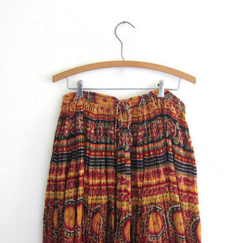 Vintage Boho crinkle Skirt / breezy ethnic print skirt // midi drawstring skirt // Made in India Hippie skirt