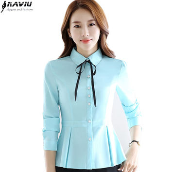 New fashion bow long sleeve women shirt elegant hem OL plus size chiffon blouse office ladies work wear formal tops white blue