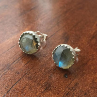 Large 8mm Faceted Labradorite and Sterling Silver Stud Earrings - custom made to order