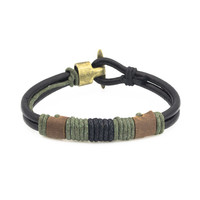 Olive multi beads western black leather wrap up bracelet