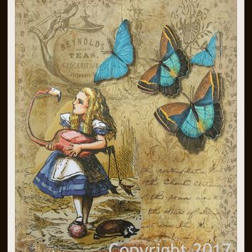 Printed Vintage Nursery Art Image Alice in Wonderland Flamingo Butterfly, Baby Shower, Wall Decor Unframed 8 x 10""