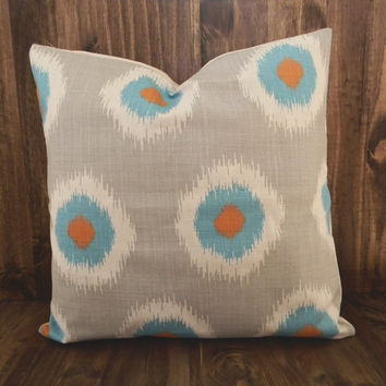 Orange and Teal Ikat Poka Dots 16 x 16 Pillow Cover, houswarming gift, cushion cover, room decor