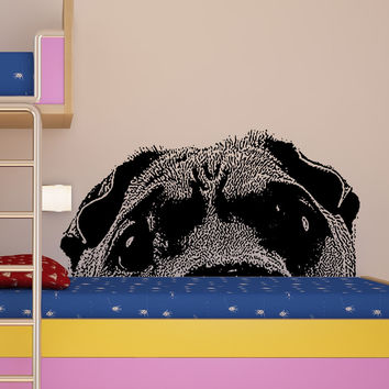 Vinyl Wall Decal Sticker Peeking Dog #5477