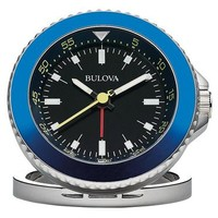Bulova The Diver Alarm Clock - Black & Blue - Functioning Bezel - Metal Case