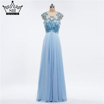 Luxury 2017 Beading  Blue Real Photo  Back Prom Tulle  Beading Handwork Evening Dresses Robe De Soiree Longue