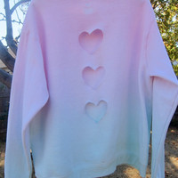 RESERVED FOR KYLIE N. Vertical Triple Heart Cut-out Pastel Green and Pink Ombre Lightly Fleece-Lined Sweatshirt