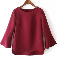 Wine Red Bell Sleeve Short Front Blouse