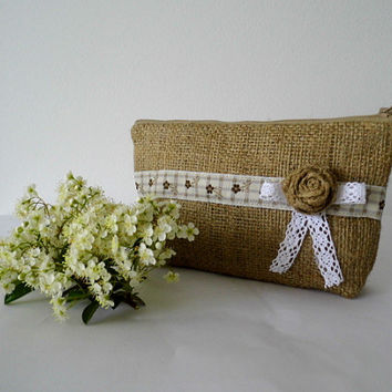 Shabby chic, burlap clutch, pouch, cosmetic bag