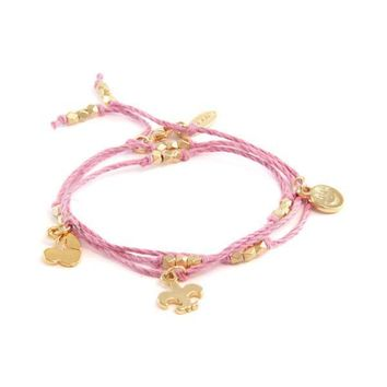 Pink Hemp Wrap Bracelet with 3-Charm Combo and Bead Accent