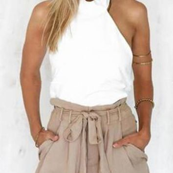 White Backless Tie Back Round Neck Fashion Cotton Vest