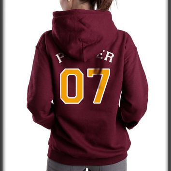 Potter 07 on Back Harry Potter Unisex Pullover Hoodie available color Maroon, Black, and Navy Blue