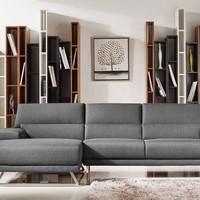 Divani Casa Trinidad Modern Grey Fabric Sectional Sofa