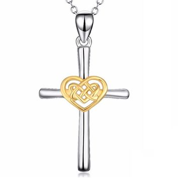 Heart Celtic Knot Pendant Necklace Jewelry For Women