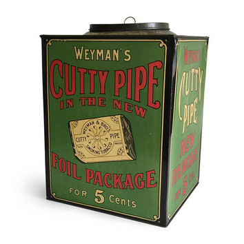 Vintage Tobacco Weyman's Cutty Pipe Store Counter Display Tin Bin / Advertising General Store Collectible / Tobacciana / Rustic Primitive
