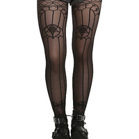 Blackheart Black Sheer Stained Glass Design Tights
