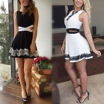Women Sleeveless Hollow Out Lace Slim Bodycon Dresses Elegant Party Sundress Mini Dress