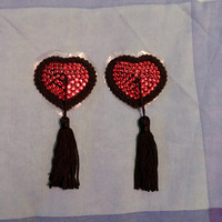 Black Heart Pasties, Burlesque Crystal Nipple Tassels