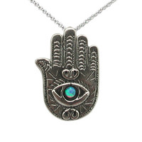 Hamsa Necklace With Opal Gemstone Pendant Hamsa Hand Amulet Sterling Silver 925 Charm FREE SHIPPING