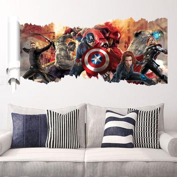 Disney Kids DIY 3D sticker The Avengers Children's room decoration kindergarten stickers cartoon autocollant enfant Removable