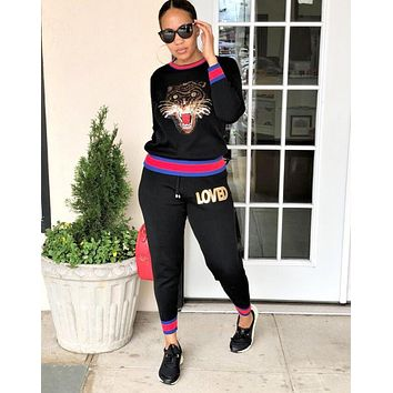 GUCCI Fashionable Women Casual Tiger Head Sequins Top Pants Trousers Set Two-Piece Sportswear Black