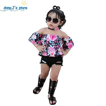 Kids Clothes Fashion Baby Girls Flora off-the-shoulder Shirt +Shorts suit Children Clothing Sets