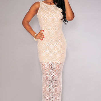 White Lace Nude Illusion Plunging Back Maxi Dress