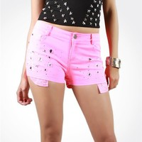 Pink Studded Shorts : Bright Pink Summer Festival Shorts