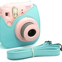 Woodmin Blue PU Leather Fujifilm Instax Mini 8 case bag + Free Shoulder Strap