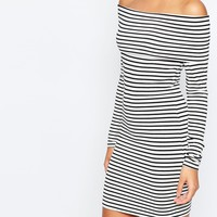 ASOS Off Shoulder Bodycon Dress In Stripe at asos.com