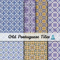 Portuguese old tiles Scrapbooking - Digital Scrap Paper Pack - 6  Papers 12 x 12