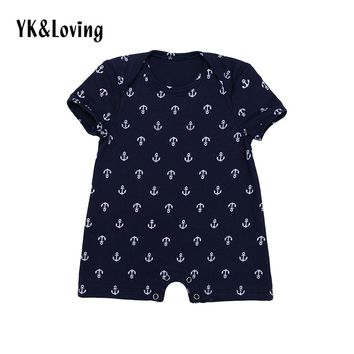New Style Baby Boy Romper with Anchor Print Cotton Short Sleeve Baby Clothes for 0-2 Years Navy Newborn Cosplay Costumes 2017
