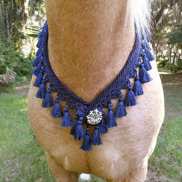 Navy Blue Arabian Style Breast Collar - Blue Tasseled Horse Costume - Equine Necklace
