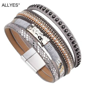 ALLYES Gray Color Leather Bracelets for Women Jewelry Trendy Metal Charm Rhinestone Crystal Wide Multilayer Bracelet Female