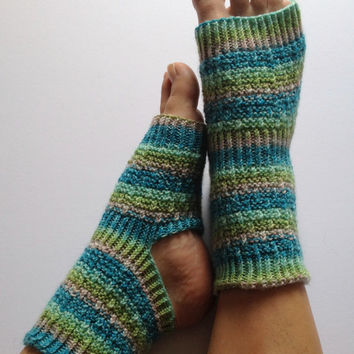 Yoga Pedicure Socks in Blue and Green Stripes by MadebyMegShop